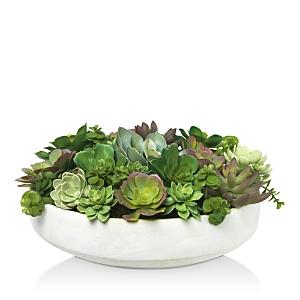 Diane James Home Mixed Succulent Faux Floral Arrangement in Clay Bowl