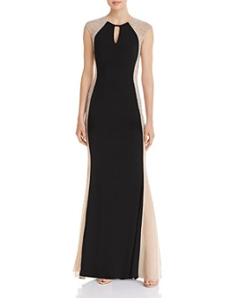 Avery G - Caviar Floor-Length Beaded Dress