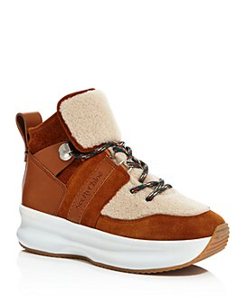 See by Chloé - Women's Shearling High-Top Platform Sneakers
