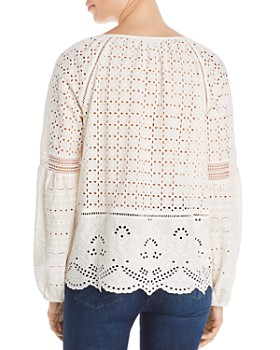 Single Thread - Eyelet Embroidered Peasant Top