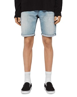 ALLSAINTS - Switch Denim Regular Fit Shorts in Light Blue Indigo