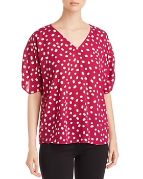 kate spade new york - Mallow-Print Ruched-Sleeve Top