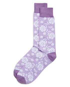 The Men's Store at Bloomingdale's - Striped Floral Socks - 100% Exclusive