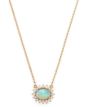 Bloomingdale's Opal and Diamond East-West Pendant Necklace in 14K Yellow Gold, 18 - 100% Exclusive
