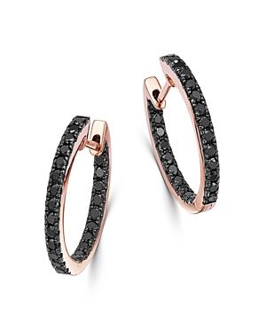 d7ea321aac71ce Bloomingdale's Black Diamond Inside-Out Medium Hoop Earrings In 14K Rose  Gold, 0.80 Ct