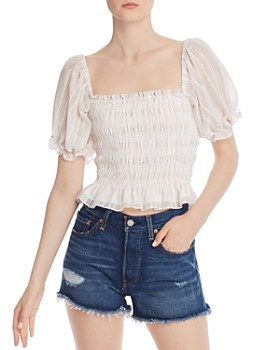 a246052e3c4 WAYF - Amber Smocked Off-the-Shoulder Top ...