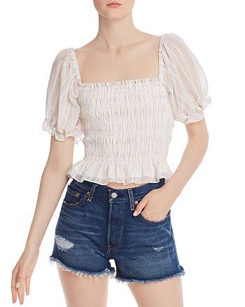 WAYF - Amber Smocked Off-the-Shoulder Top