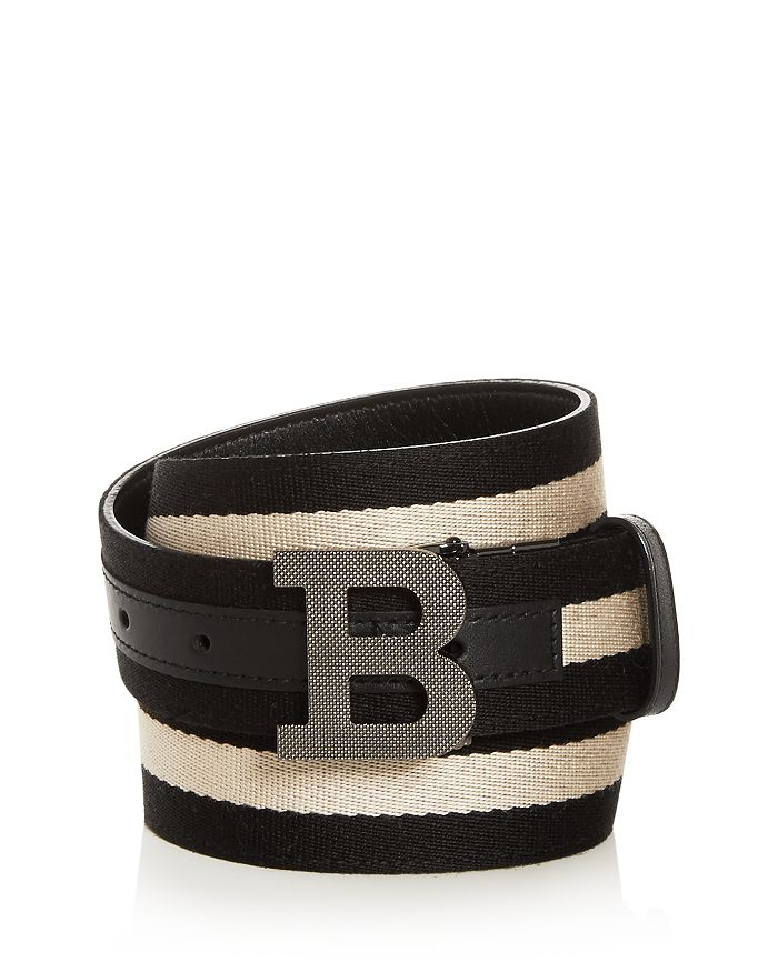 Bally - Men's B Buckle Leather & Canvas Reversible Belt