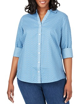 Foxcroft Plus - Mary Printed Button-Down Top