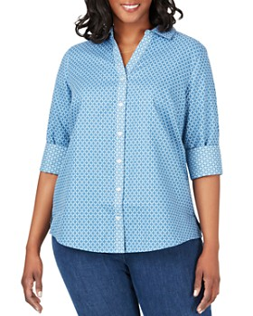 0609b73f5be813 Foxcroft Plus - Mary Printed Button-Down Top ...