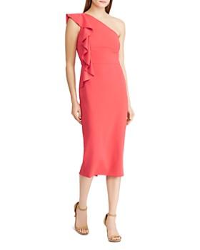 Ralph Lauren - One-Shoulder Ruffle Sheath Dress
