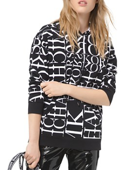 MICHAEL Michael Kors - Newsprint Logo-Letter Cotton Hoodie