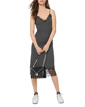 MICHAEL Michael Kors - Lace-Trimmed Dot-Print Midi Dress