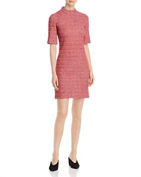 St. John - Mélange Tweed Mock-Neck Dress
