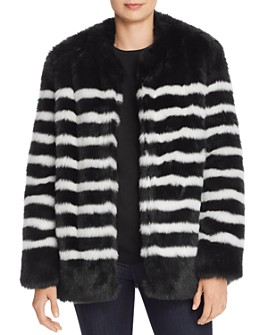 FRAME - Jerry Striped Faux Fur Coat