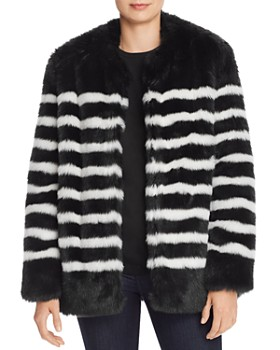 FRAME - Jerry Striped Faux Fur Coat