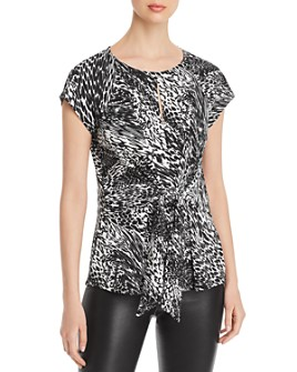 Status by Chenault - Printed Tie-Front Peplum Top