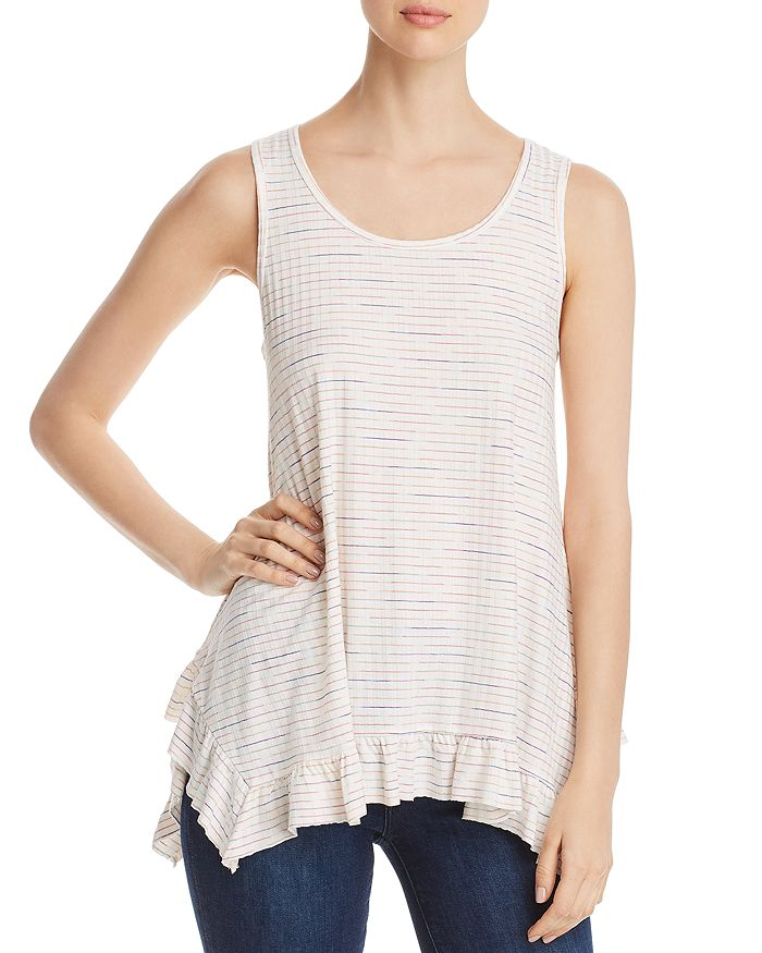 Cupio - Ruffled-Hem Striped Tank