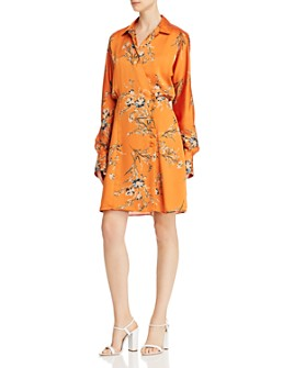 Equipment - Harmon Floral Satin Wrap Dress