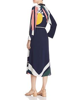 Tory Burch - Embellished Scarf-Printed Midi Dress