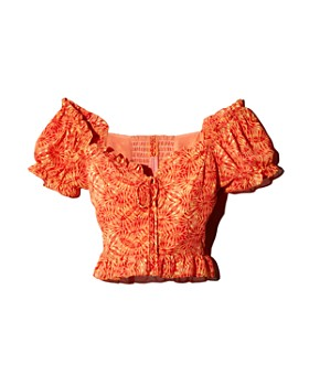 AQUA - Kaleidoscope-Print Lace-Up Top - 100% Exclusive