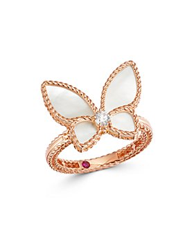 Roberto Coin - 18K Rose Gold Mother-of-Pearl & Diamond Butterfly Ring - 100% Exclusive