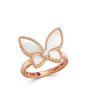 Roberto Coin - 18K Rose Gold Mother-of-Pearl & Diamond Butterfly Ring