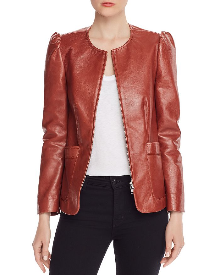Rebecca Taylor - Puffed-Shoulder Leather Jacket