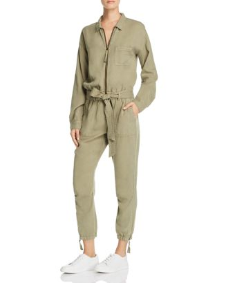 Zip Front Belted Utility Jumpsuit by Pam & Gela