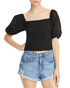 Lucy Paris - Puff-Sleeve Eyelet Top