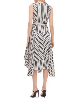 Calvin Klein - Striped Belted Handkerchief-Hem Dress