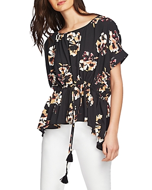 1.state Cinched-Waist Floral-Print Top