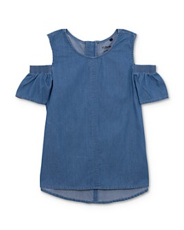 Hudson - Girls' Maya Chambray Cold-Shoulder Top, Big Kid - 100% Exclusive