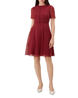 HOBBS LONDON - Cecily Polka Dot Fit-and-Flare Dress