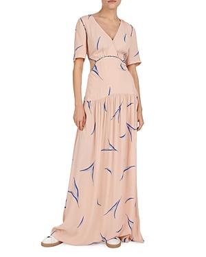 Ba & sh Tiana Cutout Leaf Print Maxi Dress