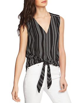1.STATE - Tie-Front Striped Tank