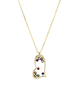 """AQUA - Open Heart Pendant Necklace in Gold-Plated Sterling Silver or Sterling Silver, 16"""" - 100% Exclusive"""
