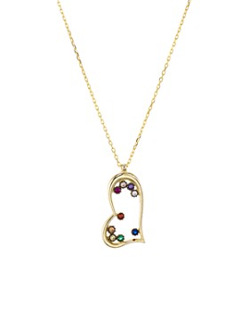 "AQUA - Open Heart Pendant Necklace in Gold-Plated Sterling Silver or Sterling Silver, 16"" - 100% Exclusive"