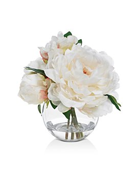 Diane James Home - Blooms Cream Peony Faux Floral Arrangement in Glass Bowl
