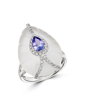 Bloomingdale's - Tanzanite, Rock Crystal & Diamond Ring in 18K White Gold - 100% Exclusive