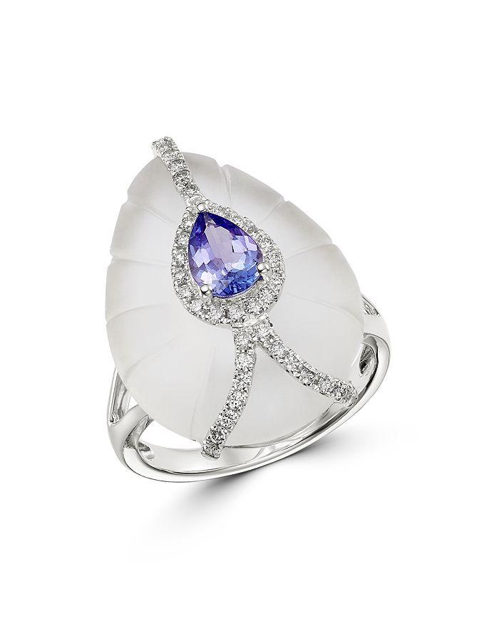 Bloomingdale's - Tanzanite, Rock Crystal & Diamond Ring in 18K White Gold - 100% Exclusive