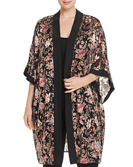Daniel Rainn Plus - Floral Burnout Kimono Cardigan