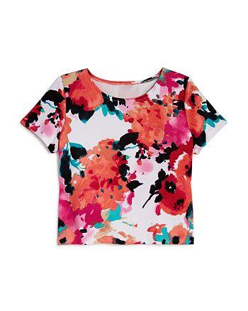 AQUA - Girls' Floral Short-Sleeve Top, Big Kid - 100% Exclusive