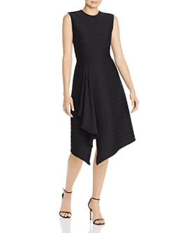 Shoshanna - Sabina Ribbed Asymmetric Midi Dress