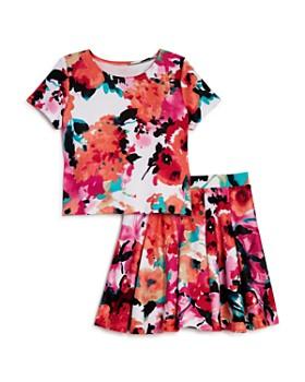 AQUA - Girls' Floral Top & Pleated Skirt, Big Kid - 100% Exclusive