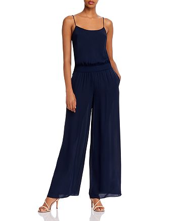 Theory - Silk Combo Ribbed-Waist Wide Leg Jumpsuit