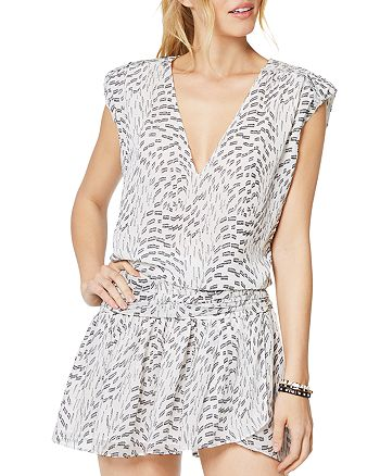 Ramy Brook - Printed V-Neck Silk Blend Mini Dress