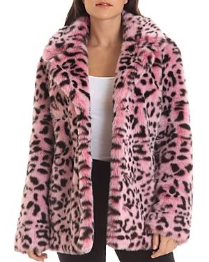 Faux Fur Animal Print Coat