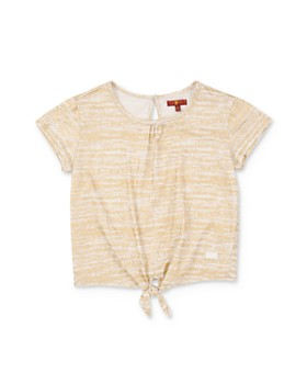 7 For All Mankind - Girls' Striped Tie-Front Tee - Big Kid