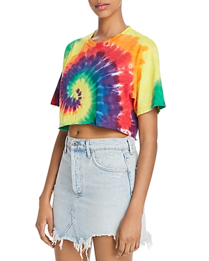 French Connection Pride Cropped Tie-Dyed Cotton Tee